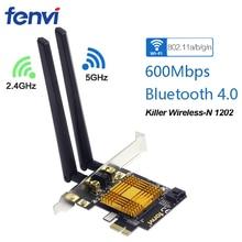 Fenvi n600 듀얼 밴드 600 mbps pci 익스프레스 무선 어댑터 wifi 블루투스 4.0 킬러 1202 데스크탑 pc 용 wi fi 카드 pcie 네트워크