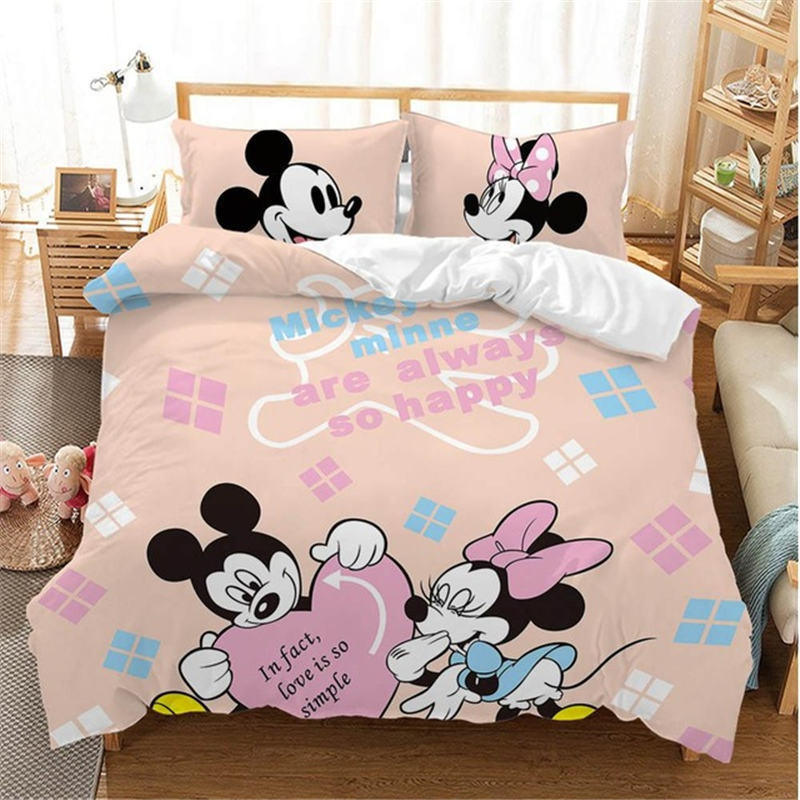 Disney Christmas Mickey Mouse 3d Bedding Set Cartoon Cotton Bed Linen For Children Boys Girl Gift Adult Duvet Cover Home Textile