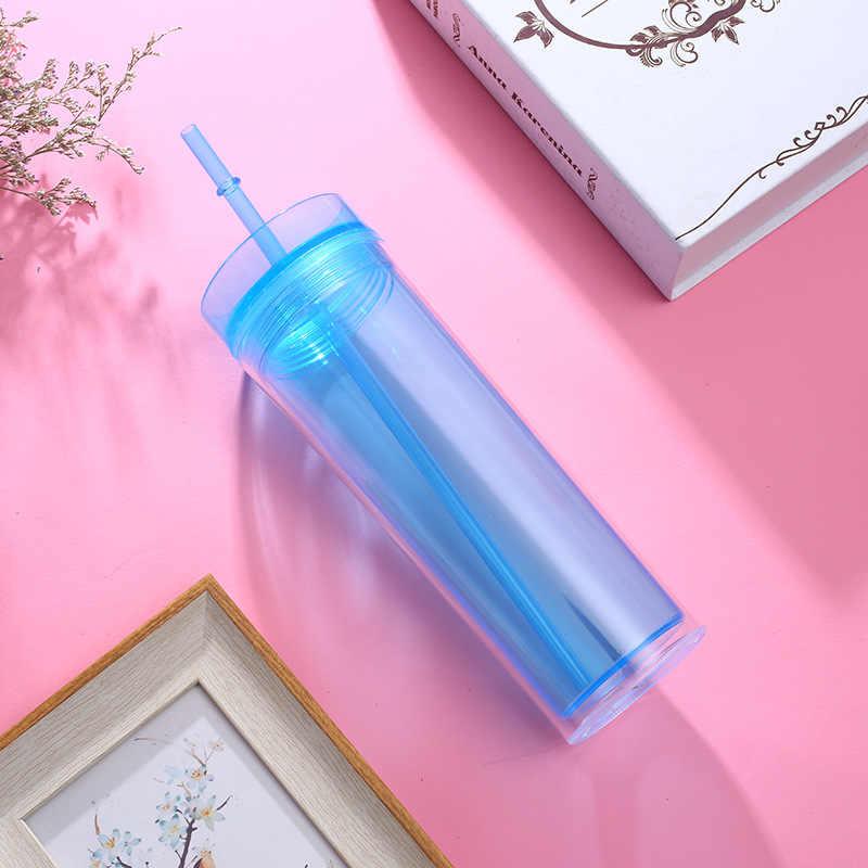 100 Pcs/lot 16 Oz Kurus Tumbler dengan Tutupnya Jerami Akrilik Kosong Slim Piala Tinggi Cangkir Kopi Botol Air Plastik Kustom guru Hadiah