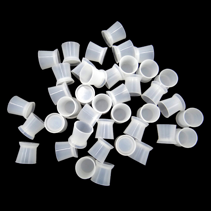 30Pcs Silicone Suckable Tattoo Ink Cap Cup Pigment Clear Microblading Holder Container S/L Size For Needle Tip Grip Supplis