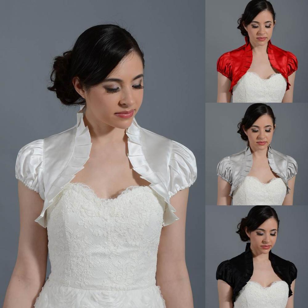 Satin Wedding Bolero With Short Sleeve Bridal Jacket Custom Made Bride Coat