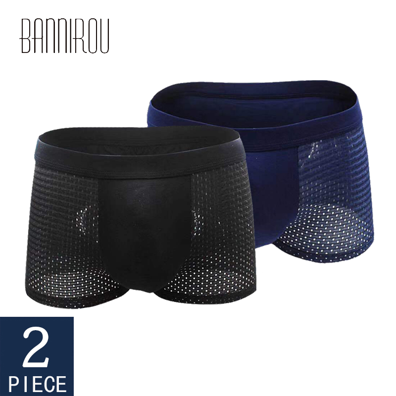 Mens Boxers Underwear Jockstrap Mesh Homme Panties Man 2pcs for New Summer Calzoncillos