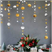 Birthday, wedding party, window, in the  decorated with a 4-M gold-silver round star. star decorated net tights