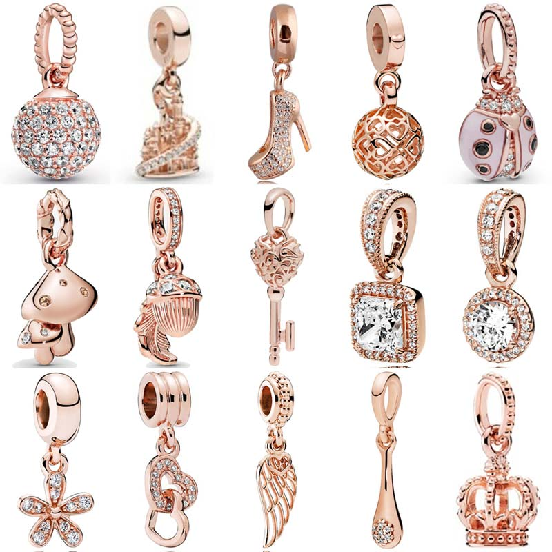 Rose Pave Ball Sparkling Mushrooms Stiletto Lucky Pink Ladybird Charm 925 Sterling Silver Beads Fit Bracelet DIY Jewelry