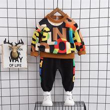 Crianças outono terno de manga comprida moda roupas 1-4 anos de idade do bebê meninos estilo ocidental sweatershirt + calças conjunto crianças roupas