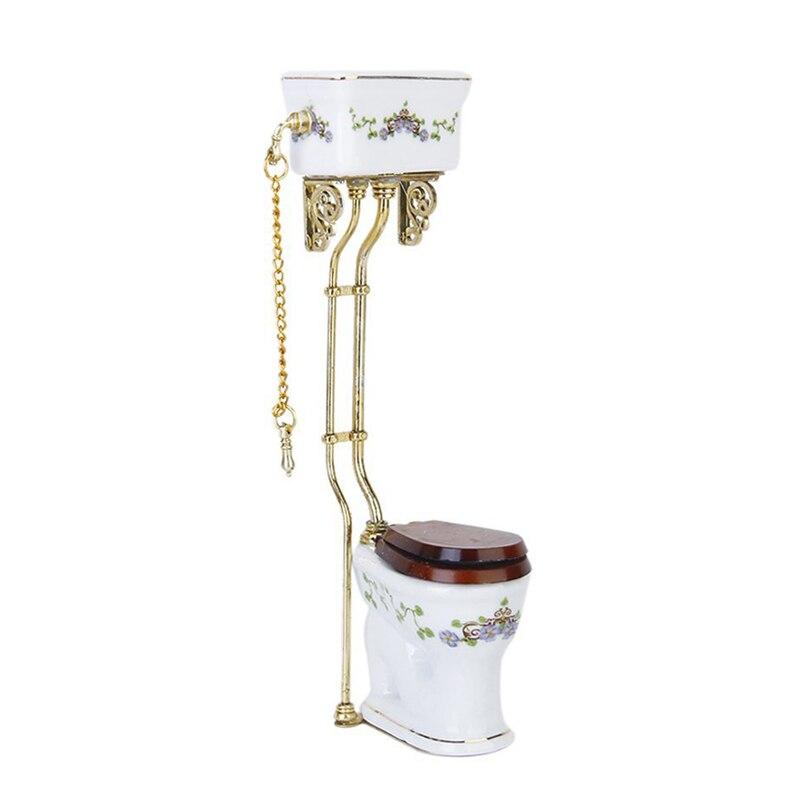 Vintage Victorian Style Bathroom Porcelain Toilet Doll House Miniature White + Gold