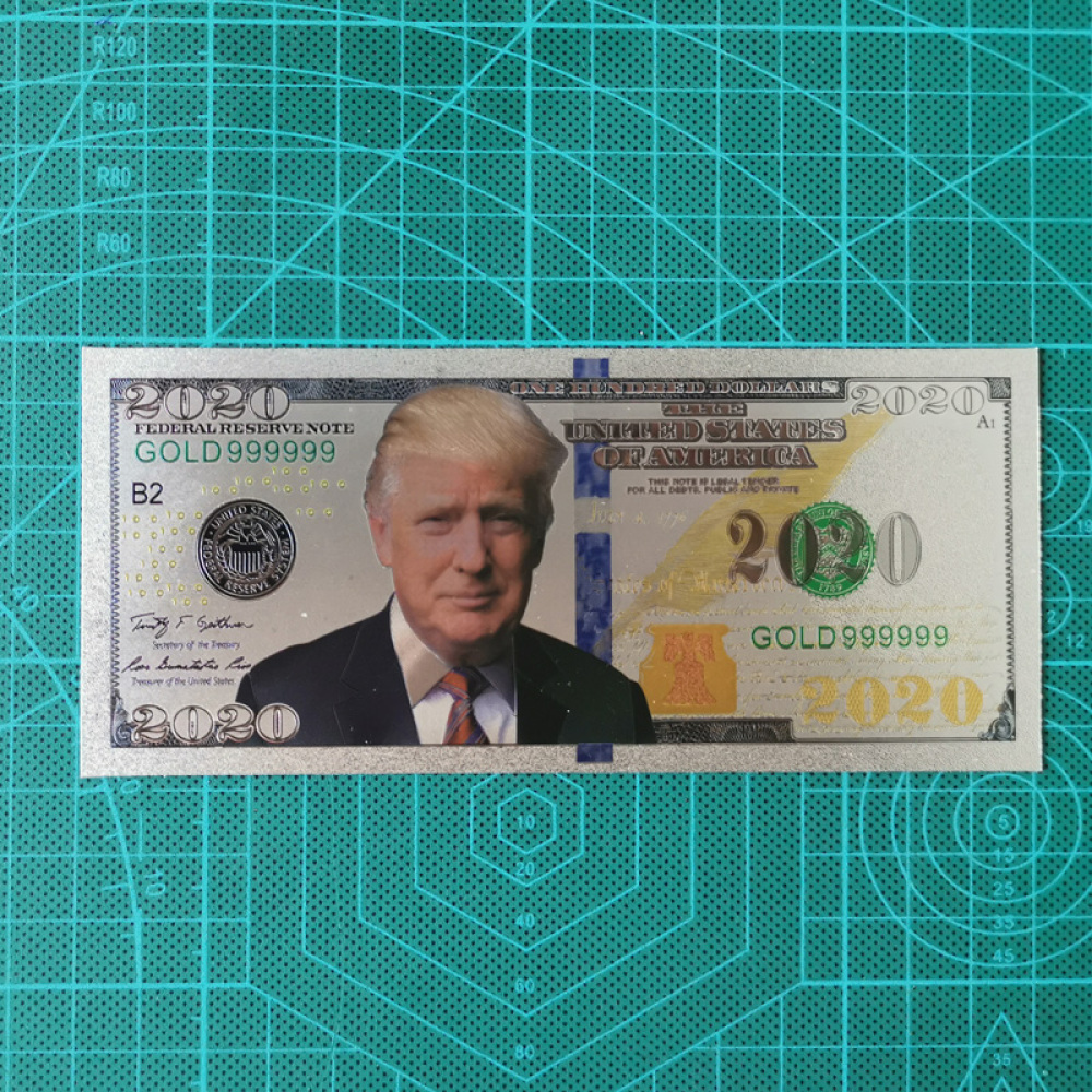 10PCS Banknotes Trump President 2020 Gold Decoration Commemorative Notes Collection Home Decoration 24K Gold Plated Banknote image