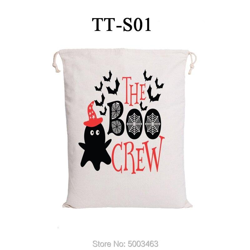 1pcs Halloween Drawstring Bags 8 Styles Halloween Sack Candy Handbag Hot Sale Canvas Bags Party Decoration Halloween Gift