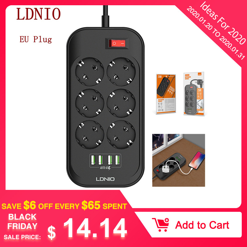 LDNIO EU Plug Smart Electrical Socket Extension Power Strip 3.4A 4 USB Charger Adapter 6 Outlet Surge Protection Switch Home