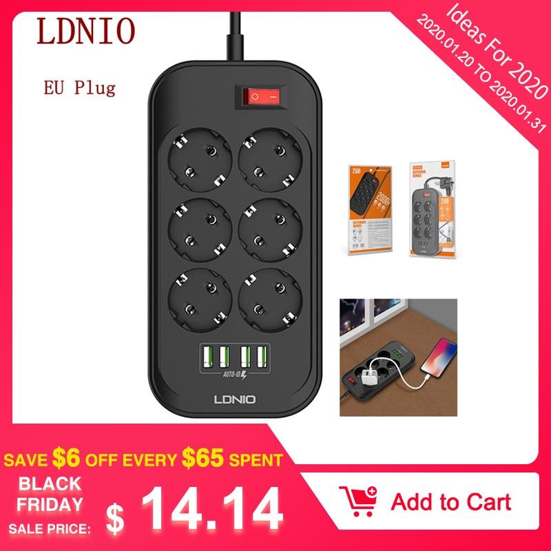 LDNIO Eu-stecker Smart Elektrische Socket Extension Power Streifen 3.4A 4 USB Ladegerät Adapter 6 Outlet Surge Schutz Schalter Hause