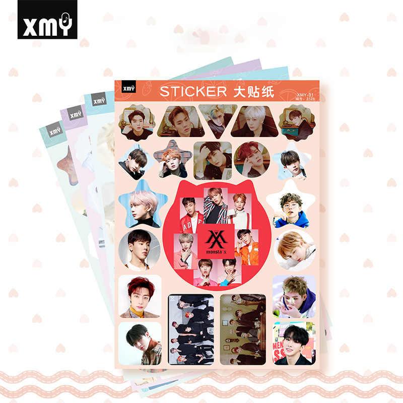 4 teile/satz KPOP Aufkleber NCT Siebzehn REDVELVET BNK48 MONSTA-X Gruppe Kreative Foto aufkleber kpop liefert