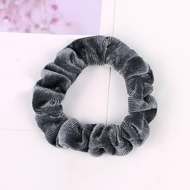 1 шт., женское эластичное кольцо для волос, зимние мягкие бархатные резинки, резинки для волос, милые одноцветные аксессуары для волос, держатель для конского хвоста - Цвет: Velvet-7