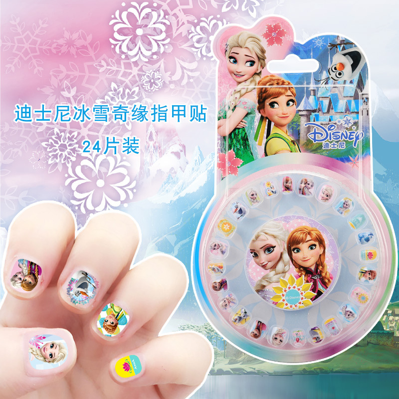Disney Genuine Product Children Nail Sticker Frozen Princess Sophia Cartoon Waterproof Nail Sticker