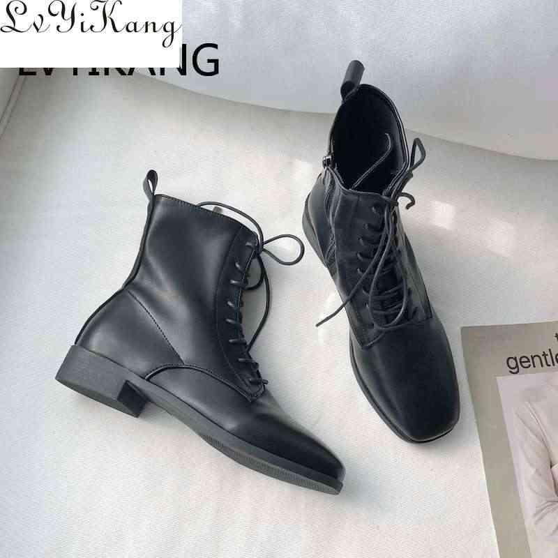 2019 kare kafa yarım çizmeler kadınlar için dantel up siyah renk bayan botları PU astarı klasik stil kadın ayakkabı moda Chesil çizmeler