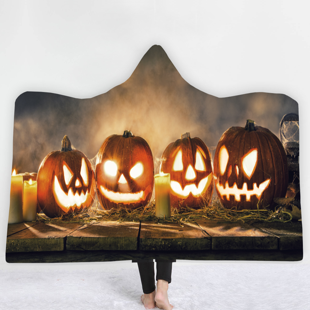 Pumpkin Skull Halloween Blanket Throw Soft Hooded Wearable Printed Travel Festival Winter Dropship DIY