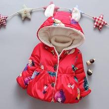 цена на baby girls jacket winter Girls Cotton Coat 1-4 Years Old Children Plus Velvet Thickening Ears Small Beautiful Cotton Jacket