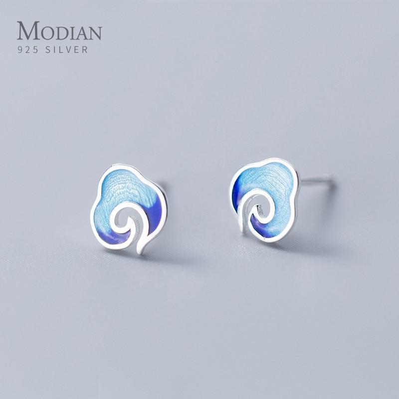Modian New Colorful Enamel Cute Clouds Sterling Silver 925 Stud Earring for Women Minimalist Ear Pin Fine Jewelry Kids Gift