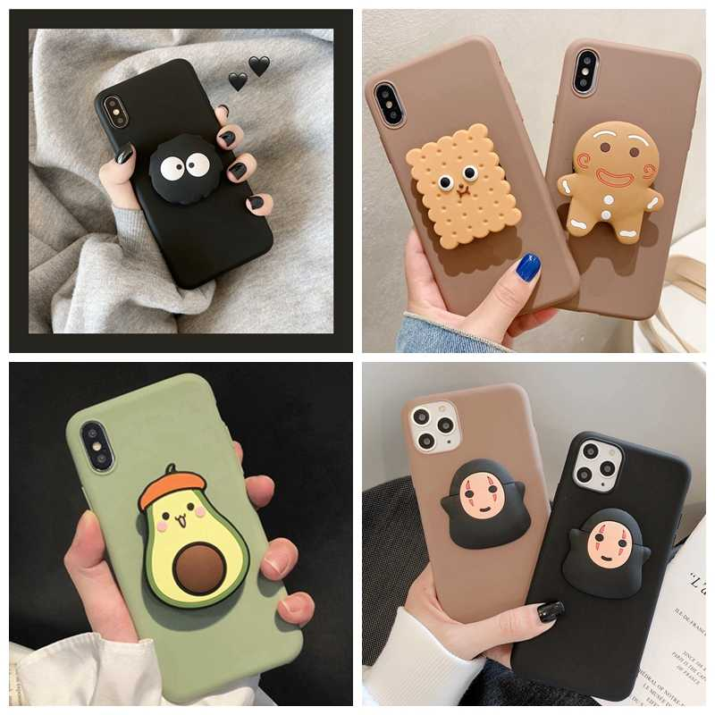 Für Samsung A50 A70 A30 A80 A40 A20S A60 A10E Für Galaxy A51 A71 Fall 3D Nette Cartoon Avocado Keks faltbare Halter Soft Cover