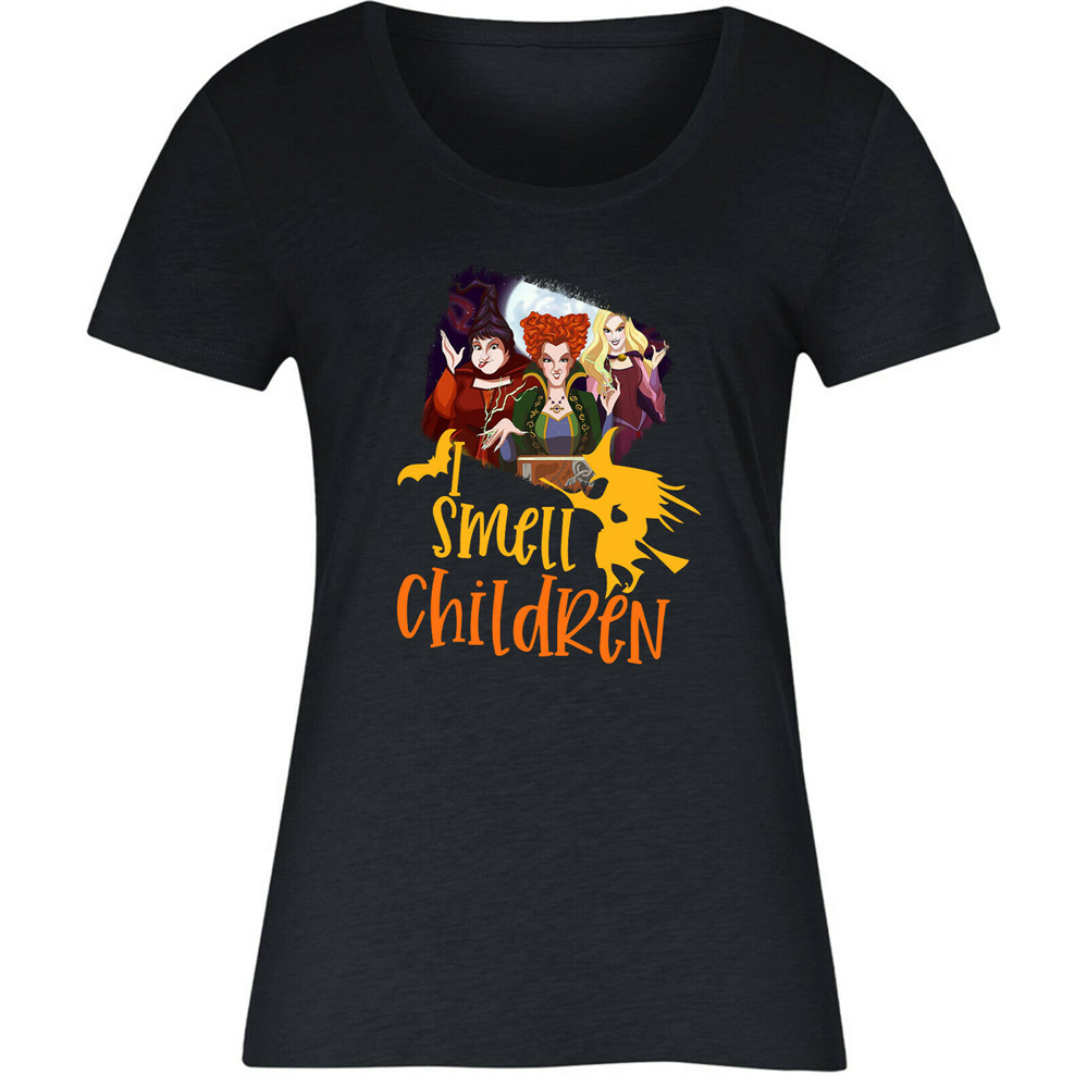 I Smell Children <font><b>Sanderson</b></font> <font><b>Sisters</b></font> <font><b>Hocus</b></font> <font><b>Pocus</b></font> Halloween Ladies T-Shirt Top Printed Tee Shirt image