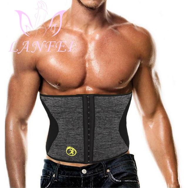 LANFEI Men Hot Neoprene Waist Trainer Trimmer Belt Workout Fitness Slimming Corset Shapwear Sauna Sweat Body Shaper Strap Girdle