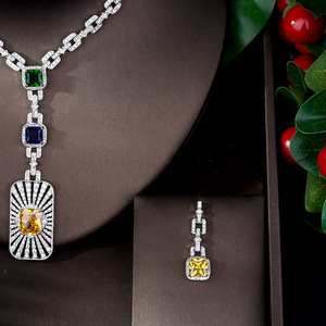 Image 3 - HIBRIDE High Quality Cubic Zirconia Bridal Jewelry Set Square Shape Nigerian Jewelry Set for Women Gift Collier Mariage N 1086