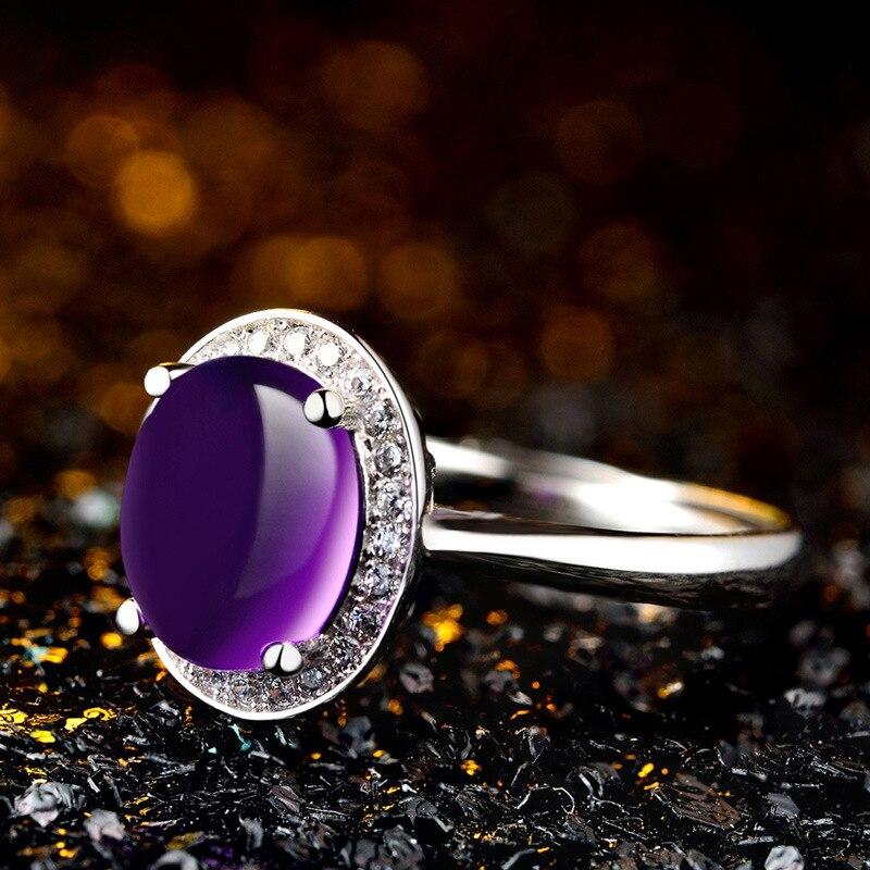 Bague Ringen pur 925 Bague en argent Sterling pour les femmes avec 10*12mm créé violet pierres précieuses anneaux femme bijoux fins pour mariage - 4