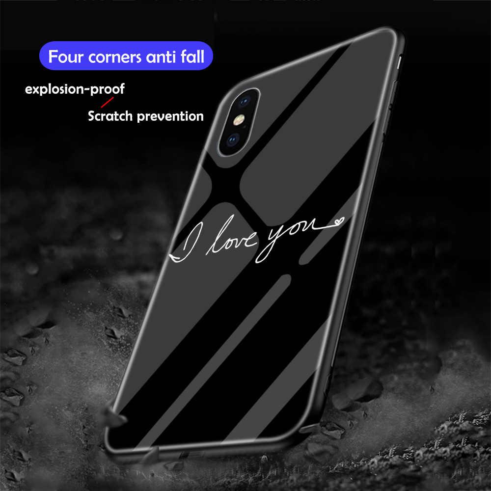Ciciber Ponsel Case untuk iPhone XR 7 8 6 6S Plus Queen Hati Bunga Tempered Kaca Penutup untuk iPhone 11 Pro XS Max X Coque Funda