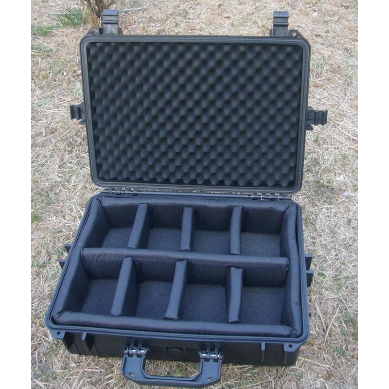 500x350x200MM ABS gereedschapskoffer gereedschapskist Slagvast afgesloten waterdichte veiligheidskoffer uitrusting camerakoffer met voorgesneden schuim