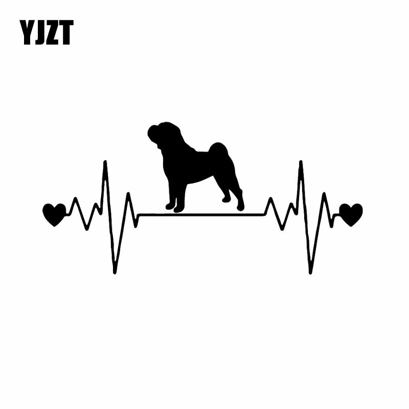 YJZT 17X8.1CM Funny Animal Car Sticker Shar Pei Lifeline Dog Heartbeat Vinyl Decal Black/Silver C24-1310