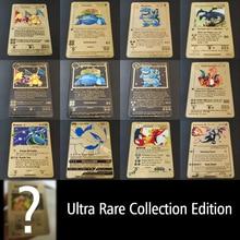 Pokemon jogo anime cartão de batalha ouro metal cartão charizard pikachu coleção cartão figura ação modelo criança brinquedo presente