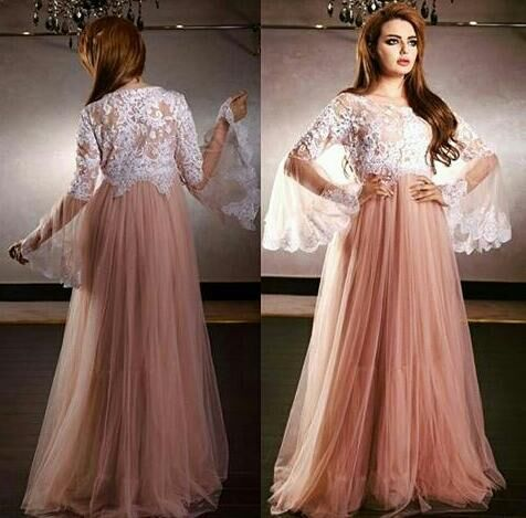 2018 New Arrival Elegant Scoop Lace Appliques Long Sleeve A-Line Evening Formal Gown Robe De Soiree Mother Of The Bride Dresses