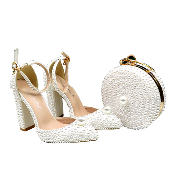Women Shoes Crystal Anti-pearl Fashion High-heeled Women's Sequin Design High-quality Dinner WomenShoes Bag-41
