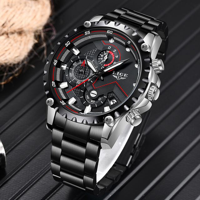 LIGE Waterproof Quartz Steel Army Military Watch 2