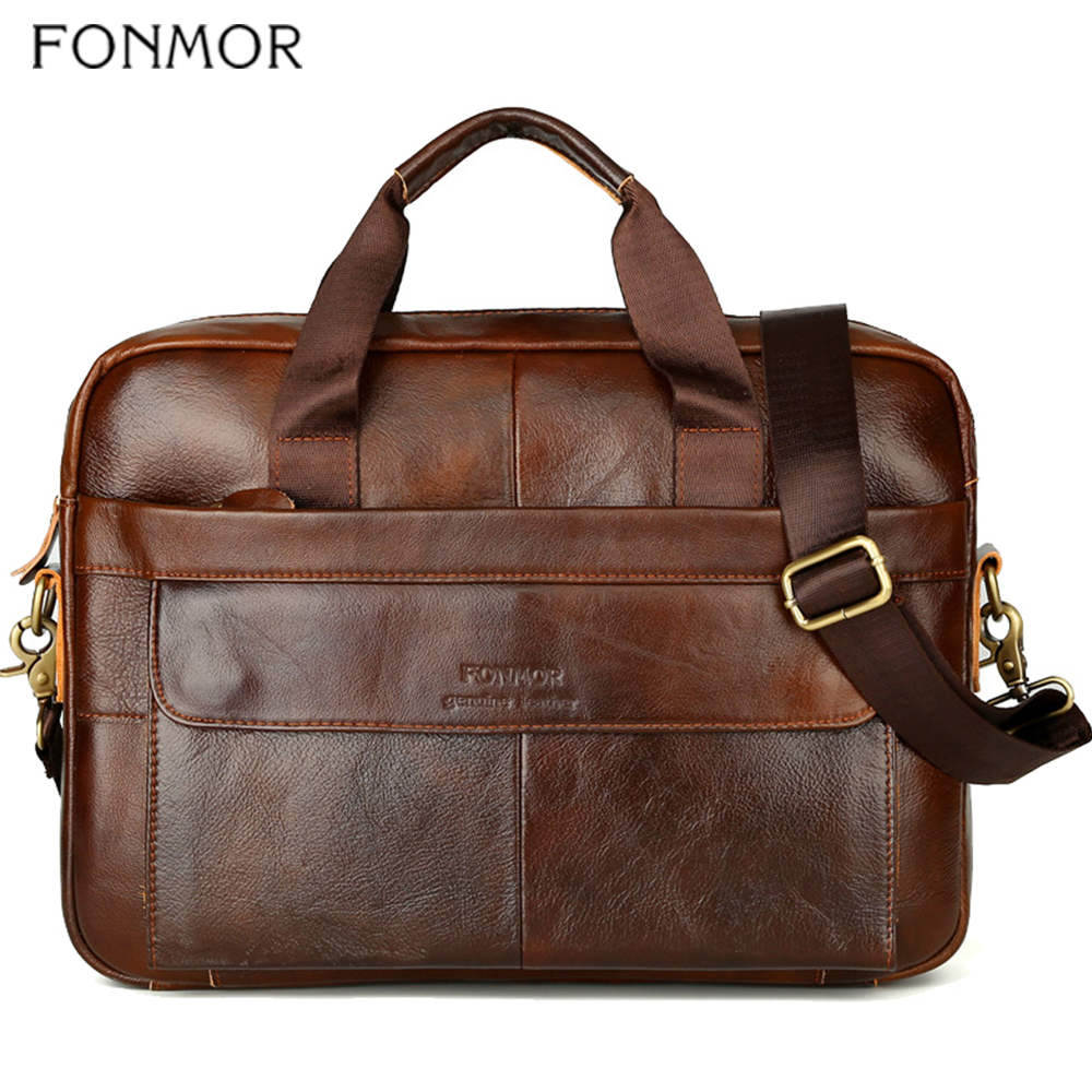 Fonmor Genuine Leather Handbags Men Briefcase Business Computer Crossbody Bag Messenger Shoulder Bags Male Laptop Tote Portfolio