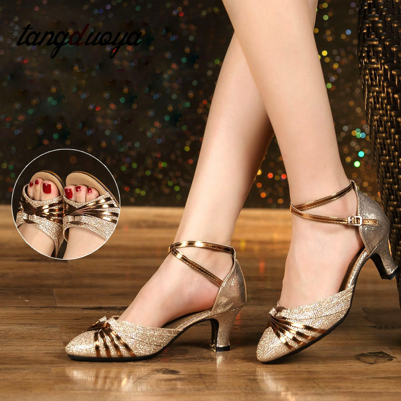 Ladies Latin Dance Shoes Zapatos Baile Latino Mujer Professional Latin Dance Ballroom Dance Shoes Gold Silver Dance Shoes Women
