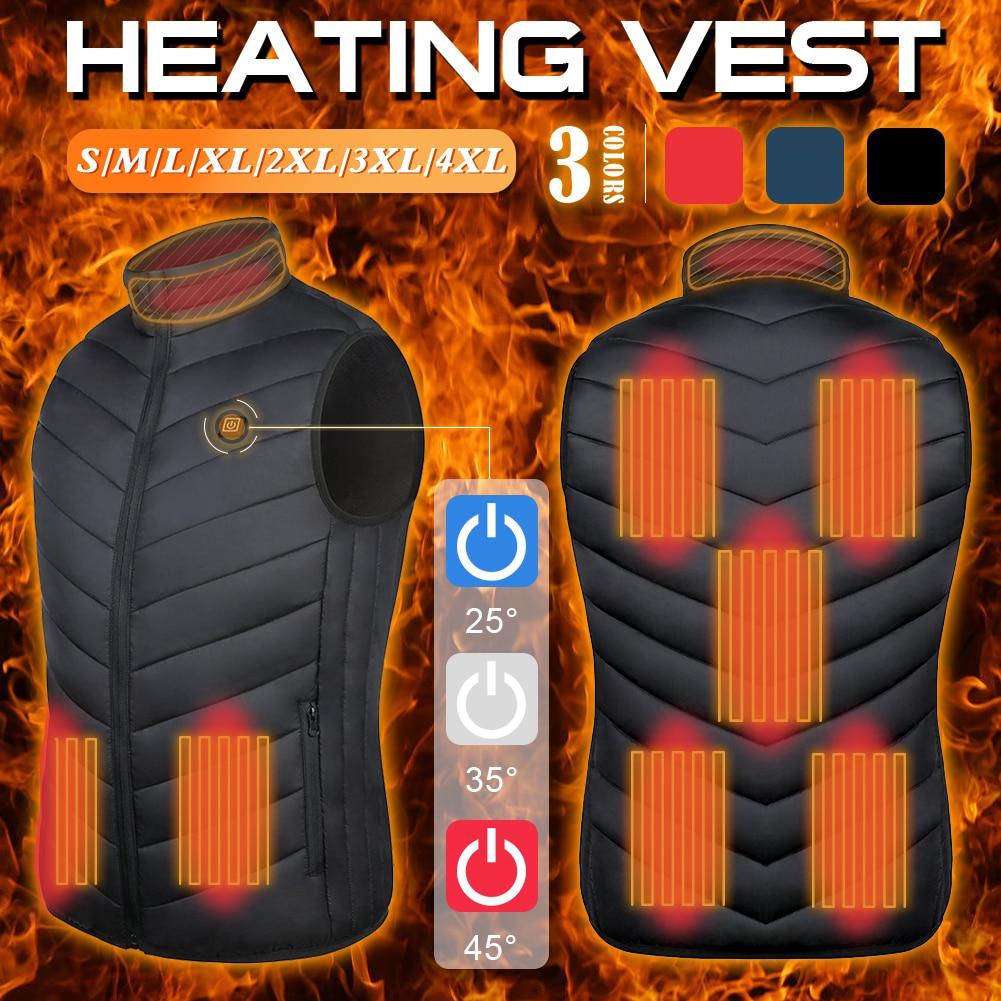 Новинка 2021, жилет с подогревом 9 зон, моющийся жилет с подогревом и зарядкой через Usb, уличная куртка с контролем температуры