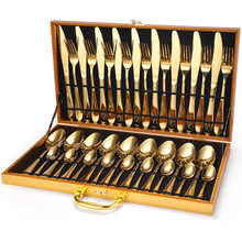 36-Piece Set Stainless Steel Cutlery Gift Box. Cutlery Gift dishes and plates sets forks knives spoons rose gold flatware