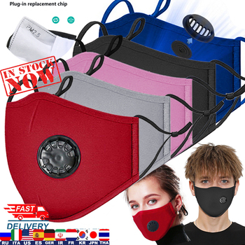 PM2.5 Filter Mouth Mask Anti-dust Mask Reusable Mask with Breathing Valve 5 Layers Filter Cotton Masks Washable Mouth Face Masks