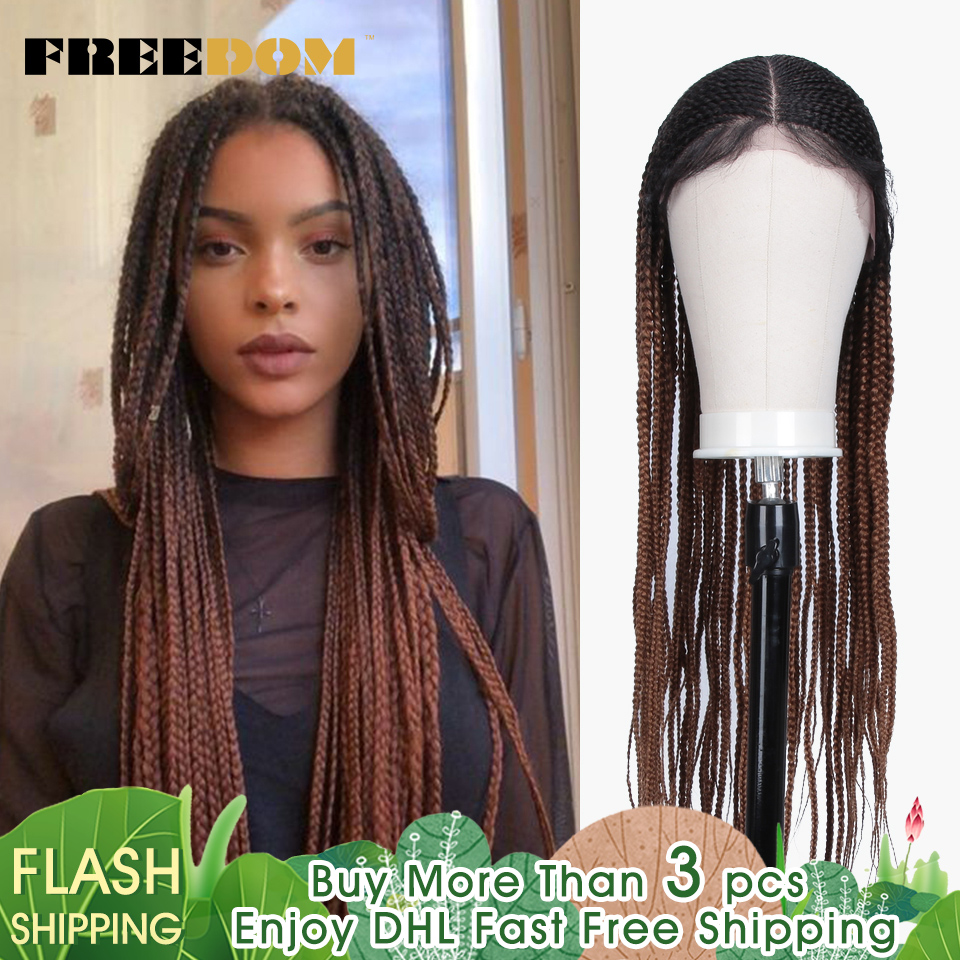 FREEDOM Wig Hair Ponytail Braided Crochet Brown Lace-Front Synthetic Ombre Red Fashion title=