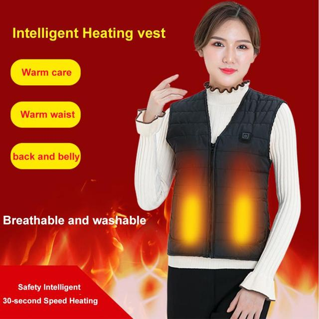 Men Women Outdoor USB Infrared Heating Vest Flexible Electric Thermal Winter Warm Jacket Clothing For Sports Hiking Riding 2