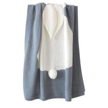 T5EC Cartoon Rabbit Ear Knitted Blanket Children Newborn Infant Sleeping Swaddle Wrap Sleepsack Bedding Sofa Beach Mat Props