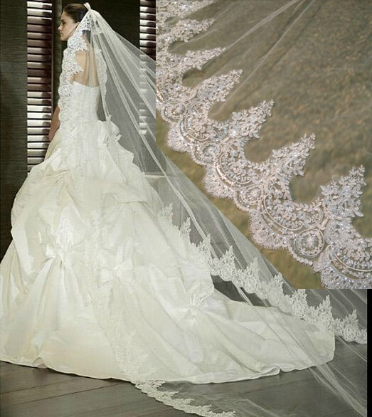 Luxury 4 Meters Long Full Edge Lace Appliques Beaded Wedding Veil One Layer Tulle Bridal Veil With Comb Veu De Noiva Longo BV11