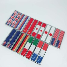 2pcs metal National flag car stickers Car leaf board Body window tail modified emblem styling Auto Accessories