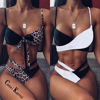 Catei Karrui 2020 Maillots De Bain Femmes Taille Haute Imprimé Léopard Couture Bikini Maillots De Bain Femmes Deux Façons De Porter Bikini Sexy