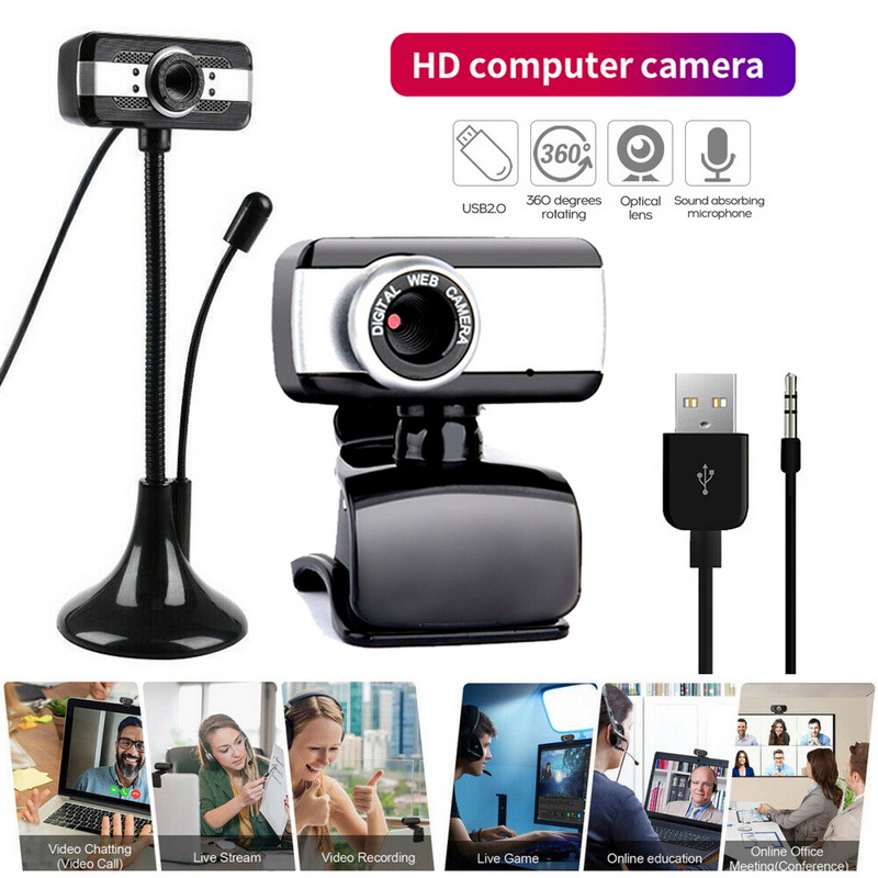 Portable HD 480P Webcam USB2.0 Driver-free Web Camera With Microphone 360 Degree Rotation For Online Teaching Live Broadcast