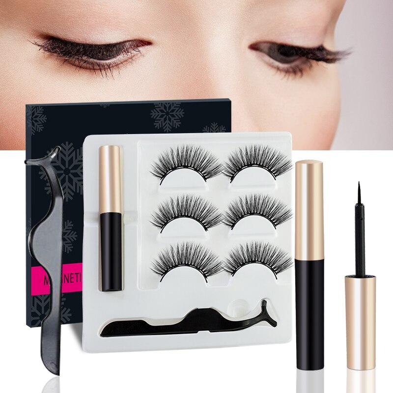 3D Magnet Eyelash 3 Pairs/set Magnetic Liquid Eyeliner Kit Natural False Mink Eyelashes Waterproof Long Lasting Eyelash Makeup