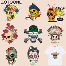 ZOTOONE Flower Skull Patch Cool Punk Stickers Iron on Patches for Clothing T-shirt Heat Transfer Diy Accessory Appliques G