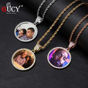 GUCY Necklace Tennis-Chain Back-Pendant Hip-Hop jewelry Cubic-Zircon Custom-Made Fashion