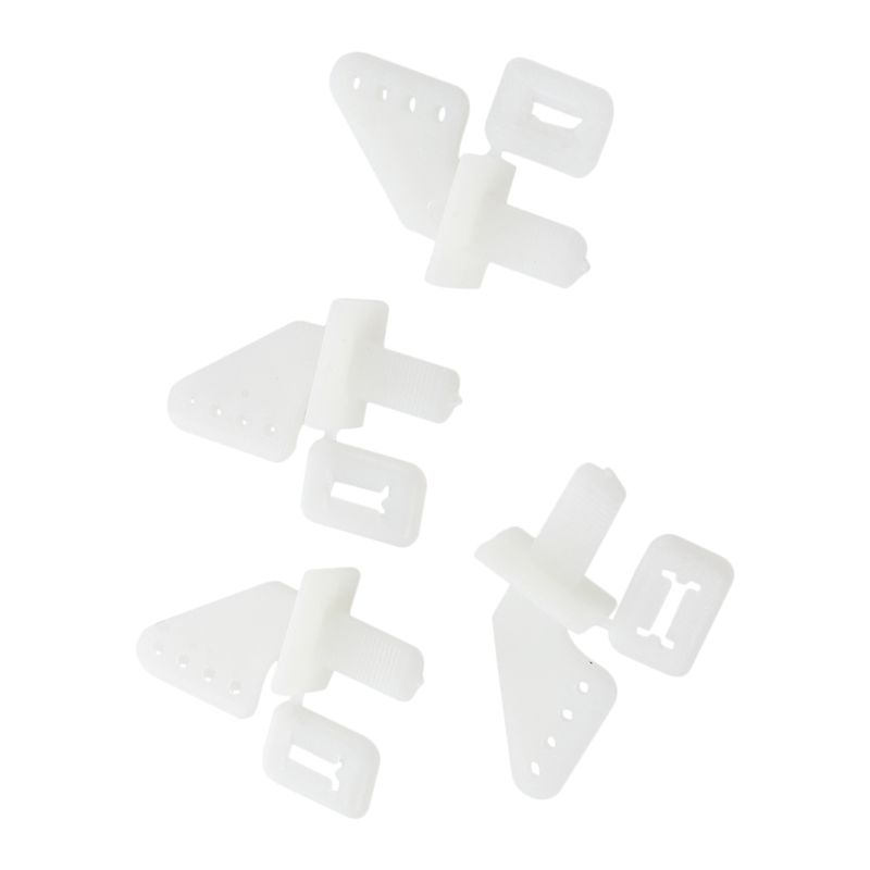 4 Pairs White Plastic 4 Holes Control Horns For RC Toy Plane Model