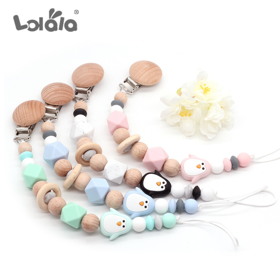 Silicone Cute Penguin Pacifier Clip Chain Crochet Beads Dummy Holder For Infant Baby Shower Gift Hand Made Speenkoord